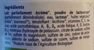 Lait de Croissance COMBIOTIC® - Ingredients
