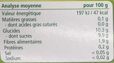 100% fruits Pommes Coings - Informations nutritionnelles - fr
