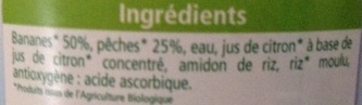 Délices de Fruits Bananes Pêches - Ingrédients - fr