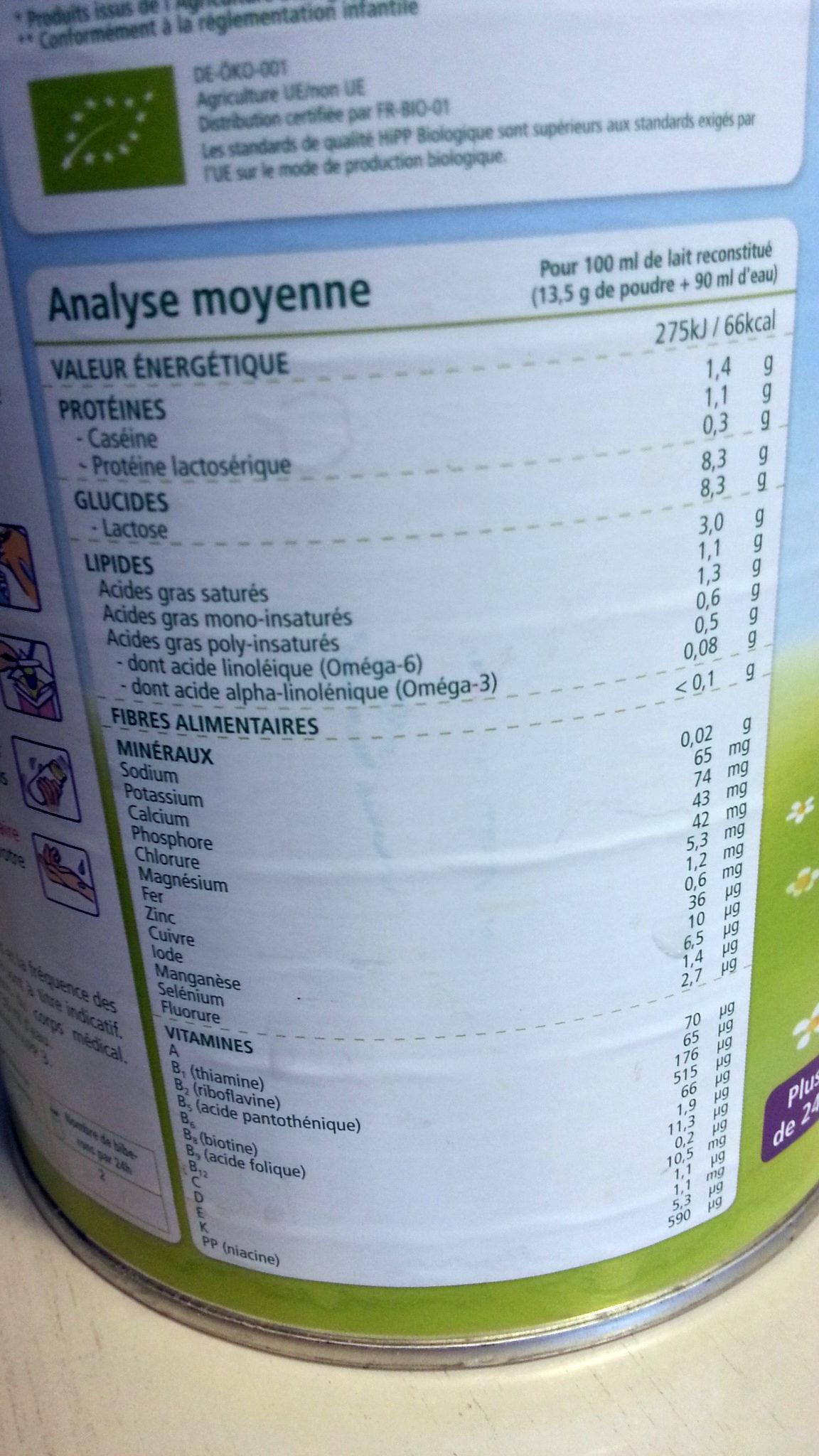 Lait de Croissance Combiotic® 3 - Informations nutritionnelles - fr