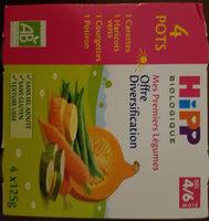 Offre diversification Légumes (Haricots verts, Carottes, Courgettes, Potiron) - Produit