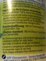 Tisana camomilla - Ingredienti - fr