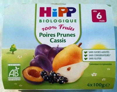 Compote 100% fruits poires prunes cassis - Product