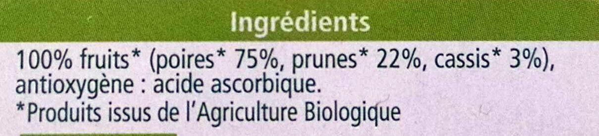 Compote 100% fruits poires prunes cassis - Ingredients - fr