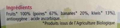 100% Fruits Poires Bananes Kiwis - Ingrediënten