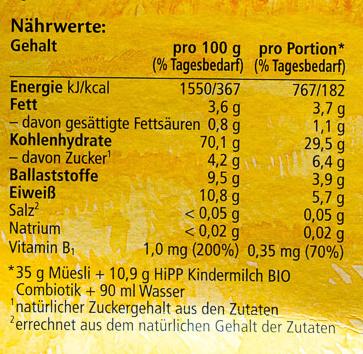 Kinder 7-Korn-Müesli - Nutrition facts
