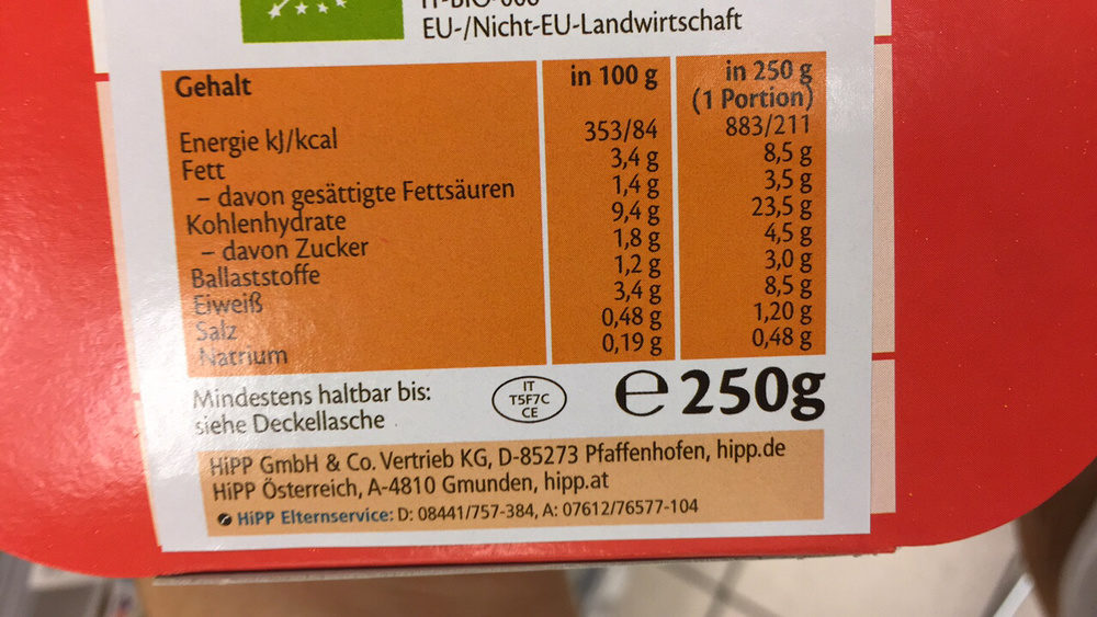 Kinder Lasagne bolognese - Valori nutrizionali - fr