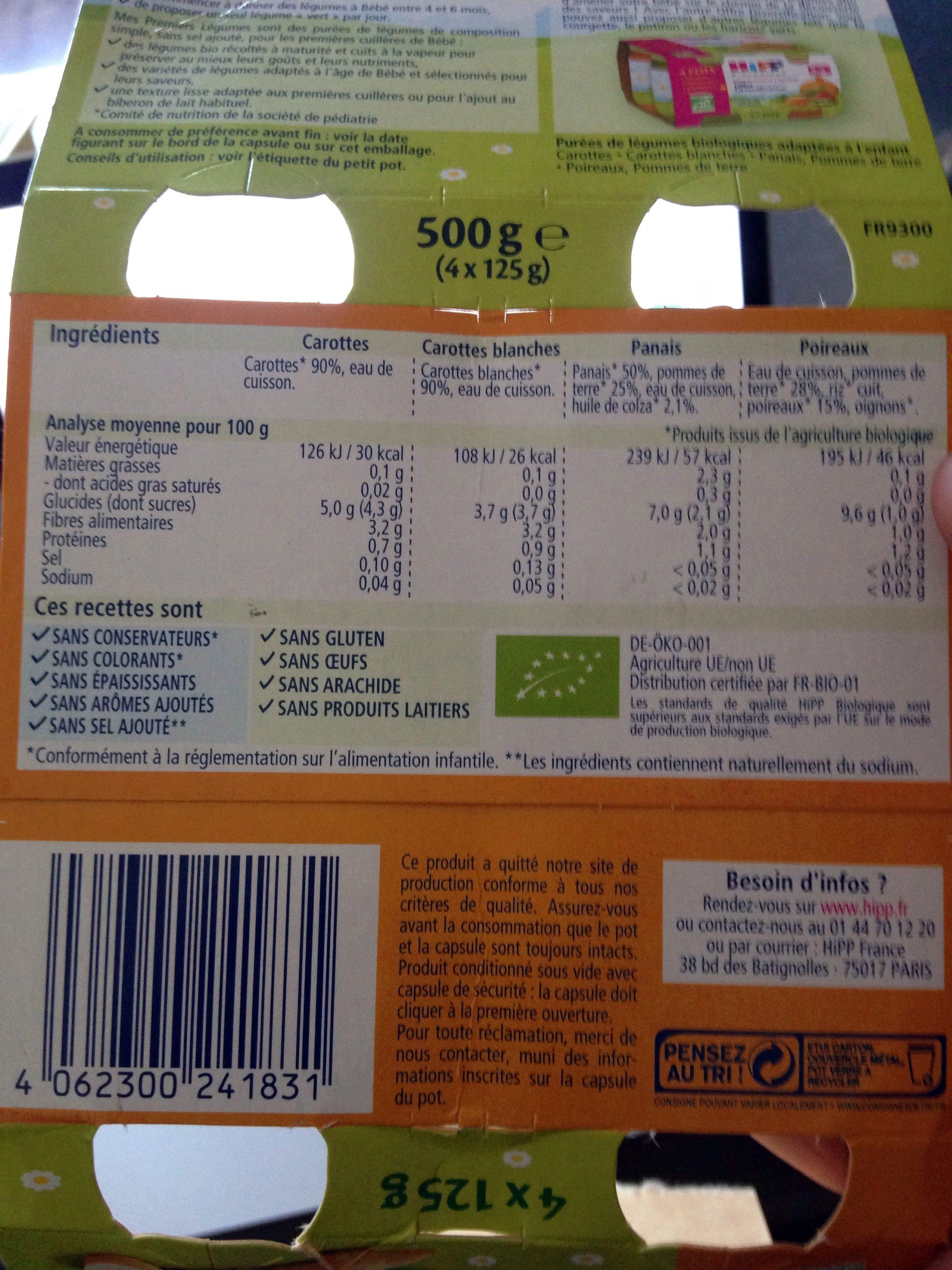 Offre diversification Légumes (Carottes blanches, Carottes, Panais, Poireaux) - Product