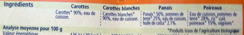 Offre diversification Légumes (Carottes blanches, Carottes, Panais, Poireaux) - Ingredients