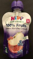 Gourde Pommes Myrtilles Grenades Hipp 90G + - Produit