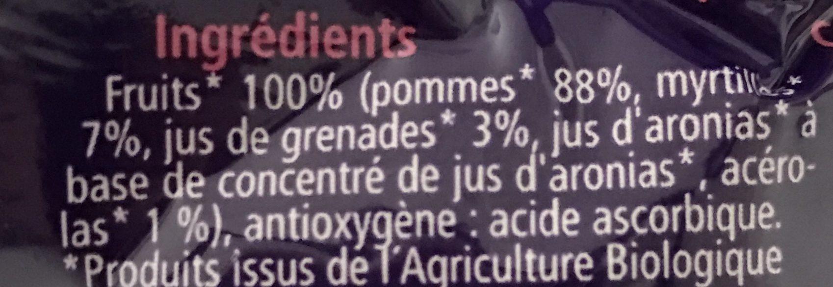 Gourde Pommes Myrtilles Grenades Hipp 90G + - Ingrédients