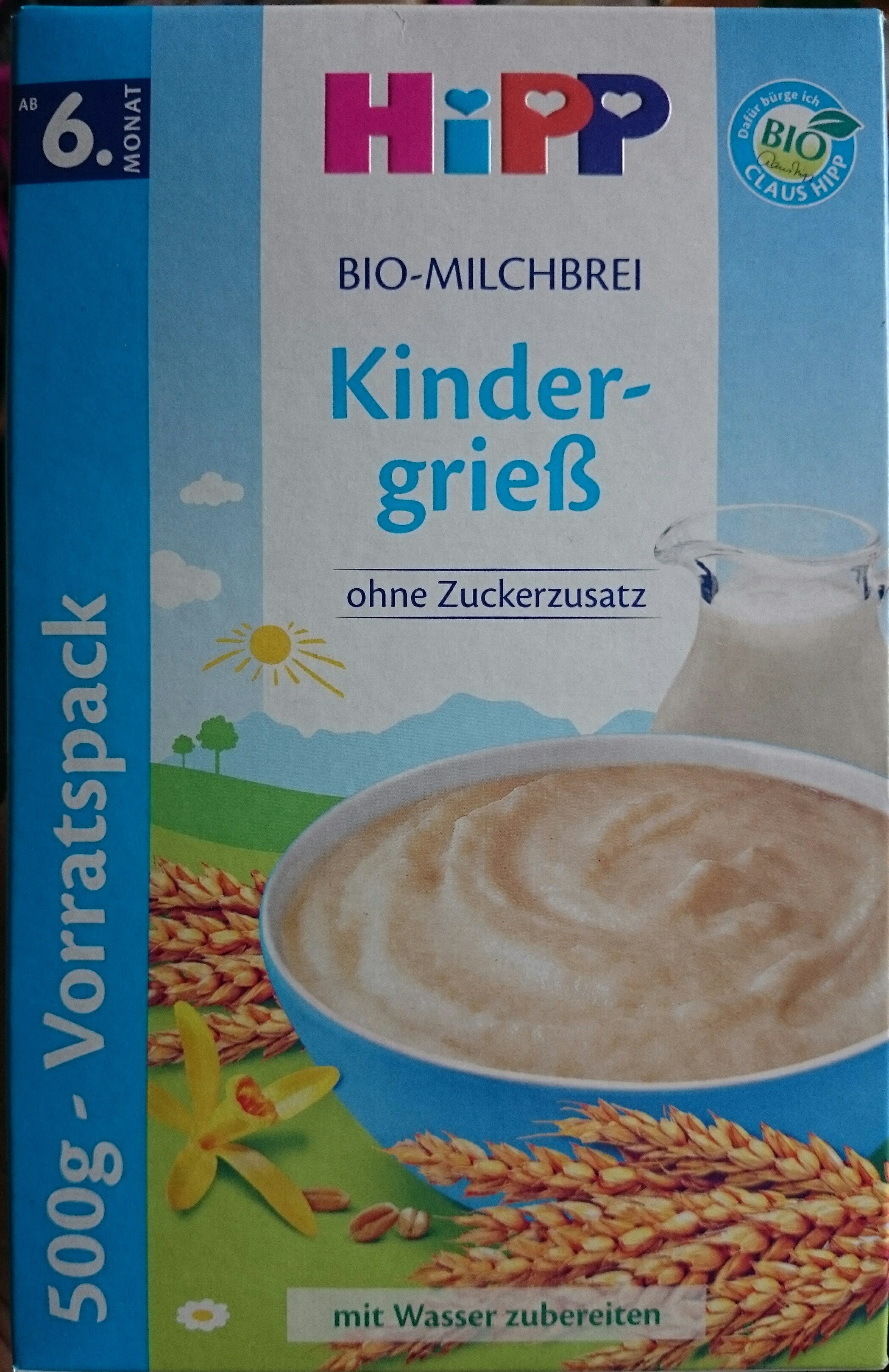 Hipp Bio Milchbrei, Kindergrieß, 2 X - Produit - de
