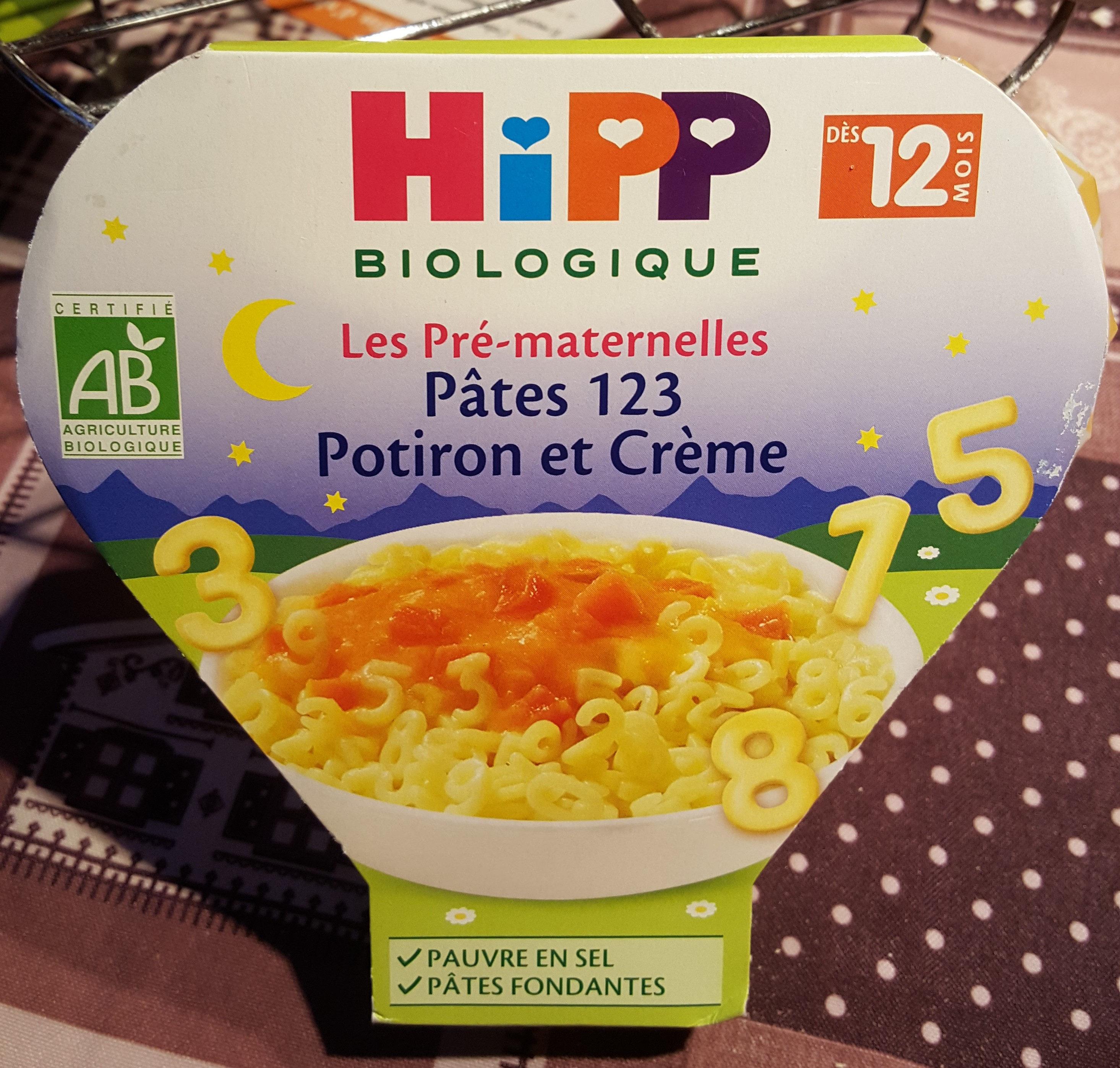 Assiette Pâtes 123 Potiron Et Crème Hipp 230G + - Product