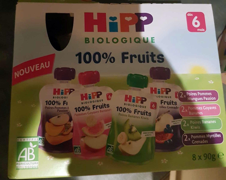 100% Fruits Multipack 2x Poires Pommes Mangues Passion, 2x Pommes Goyaves Bananes, 2x Poires Bananes Kiwis, 2x Pommes Myrtilles Grenades - Produit - fr