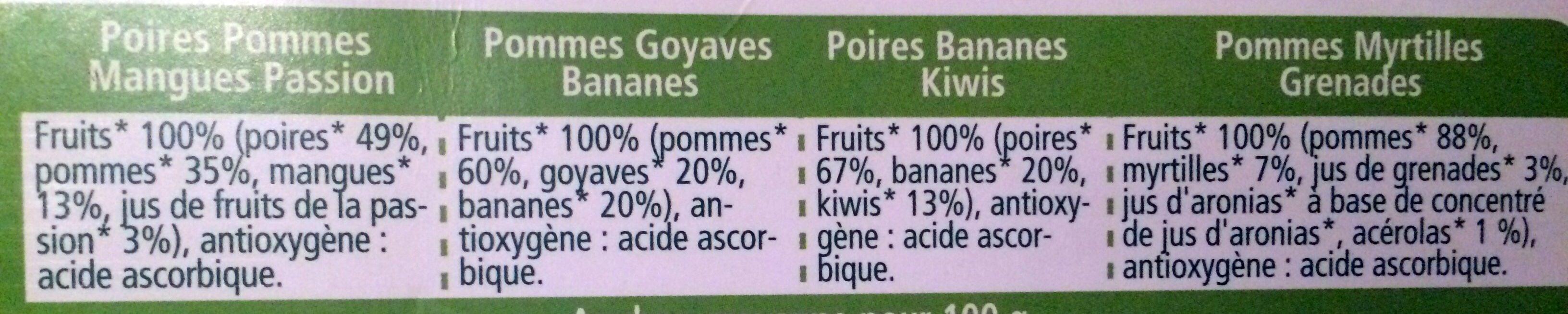 100% Fruits Multipack 2x Poires Pommes Mangues Passion, 2x Pommes Goyaves Bananes, 2x Poires Bananes Kiwis, 2x Pommes Myrtilles Grenades - Ingrédients - fr