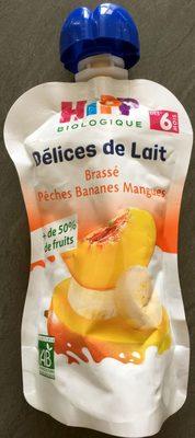 Délices de lait - Brassé pêches, bananes, mangues - Product - fr