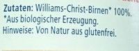 Williams christ birne - Inhaltsstoffe