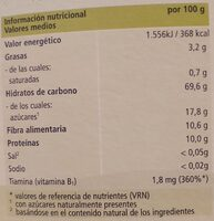 papilla de cereales integrales con frutas - Valori nutrizionali - es