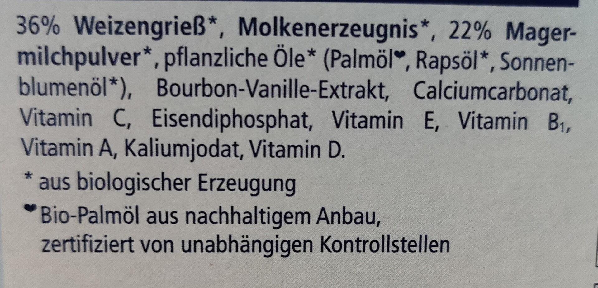 Bio Milchbrei Kindergrieß - Ingrediënten - de
