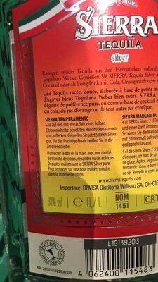 Sierra Tequila Silver - Produkt - de