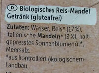 Reis Mandel ungesüßt - Ingredients - de