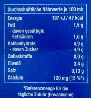 Haltbare fettarme Milch - Nährwertangaben