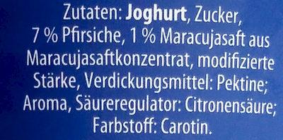 Fruchtjoghurt Pfirsich-Maracuja - Inhaltsstoffe