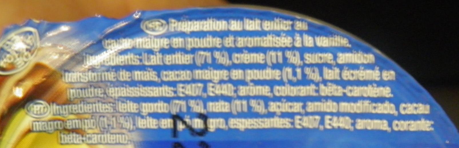 Dessert cacao goût vanille - Ingrédients