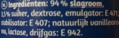 Sprühsahne 30% Fett, Lactosefrei - Ingrediënten