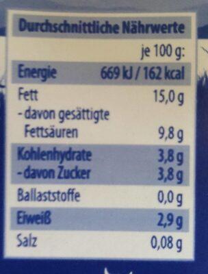 Sahne zum Kochen 15% Fett - Nährwertangaben - de