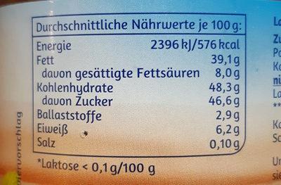 Minus L Nuss Nougat Creme - Nutrition facts - de