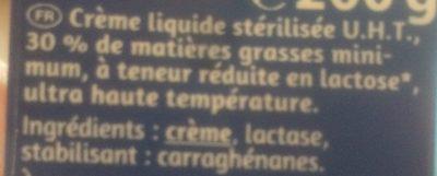 Crème Liquide Sans Lactose - Ingrédients - fr