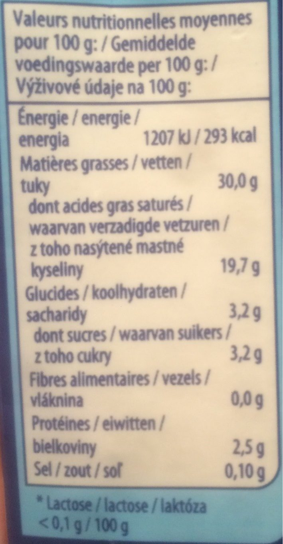 Crème Liquide Sans Lactose - Informations nutritionnelles - fr