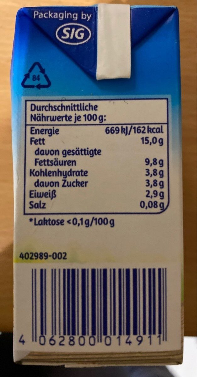 Sahne Minus L - Nutrition facts - en