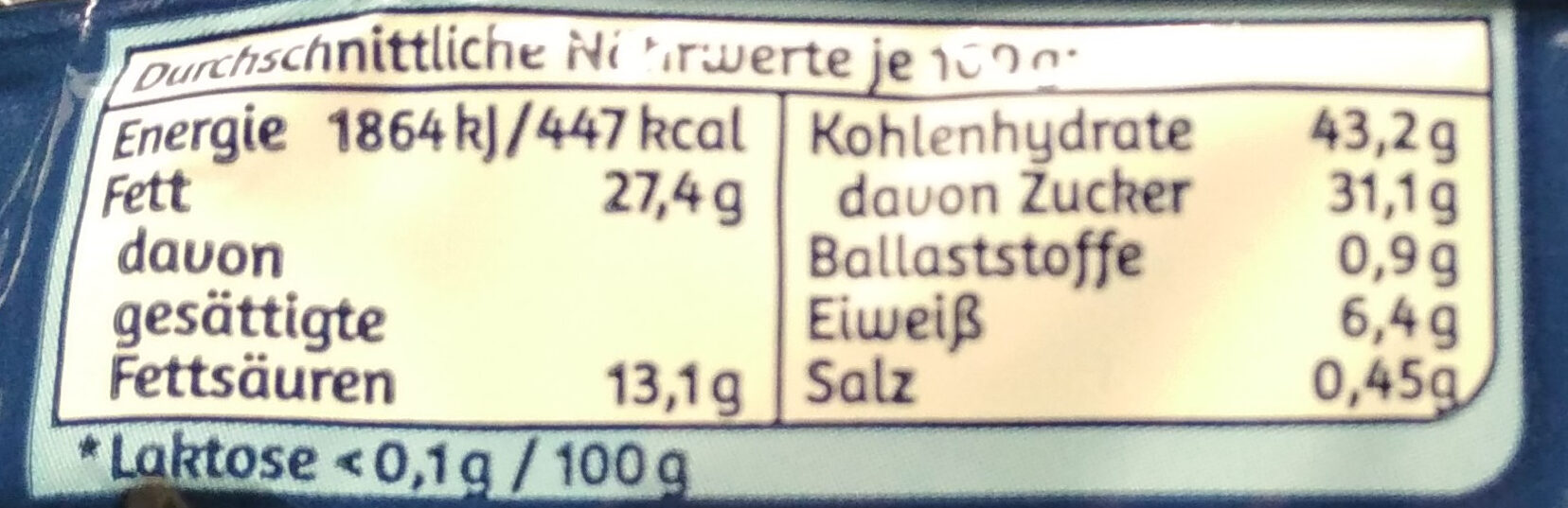 Milch-Snack - Nutrition facts - de