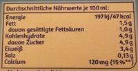Bio fettarme H-Milch laktosefrei - Nährwertangaben - de