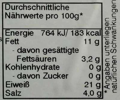 Bio-Räucherlachs - Nährwertangaben