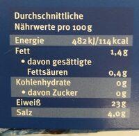 Wildlachs, Kodiak, Smoked - Nutrition facts - de