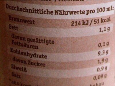 Frischer Bio Hafer Drink - Nährwertangaben - de