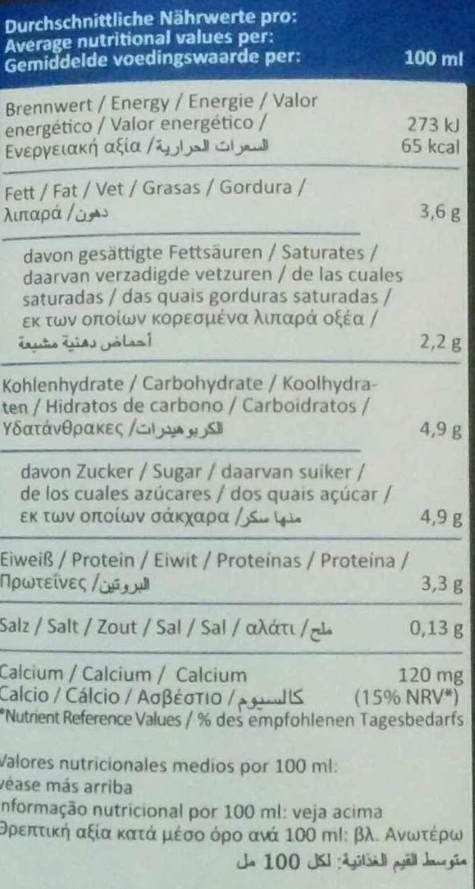 H-Milch 3,5% Fett - Nutrition facts