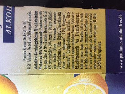 Biere blanche sans alcool au citron - Ingrédients - fr