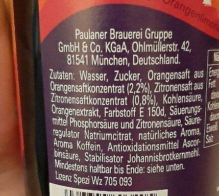 Paulaner Spezi - Ingrediënten - de