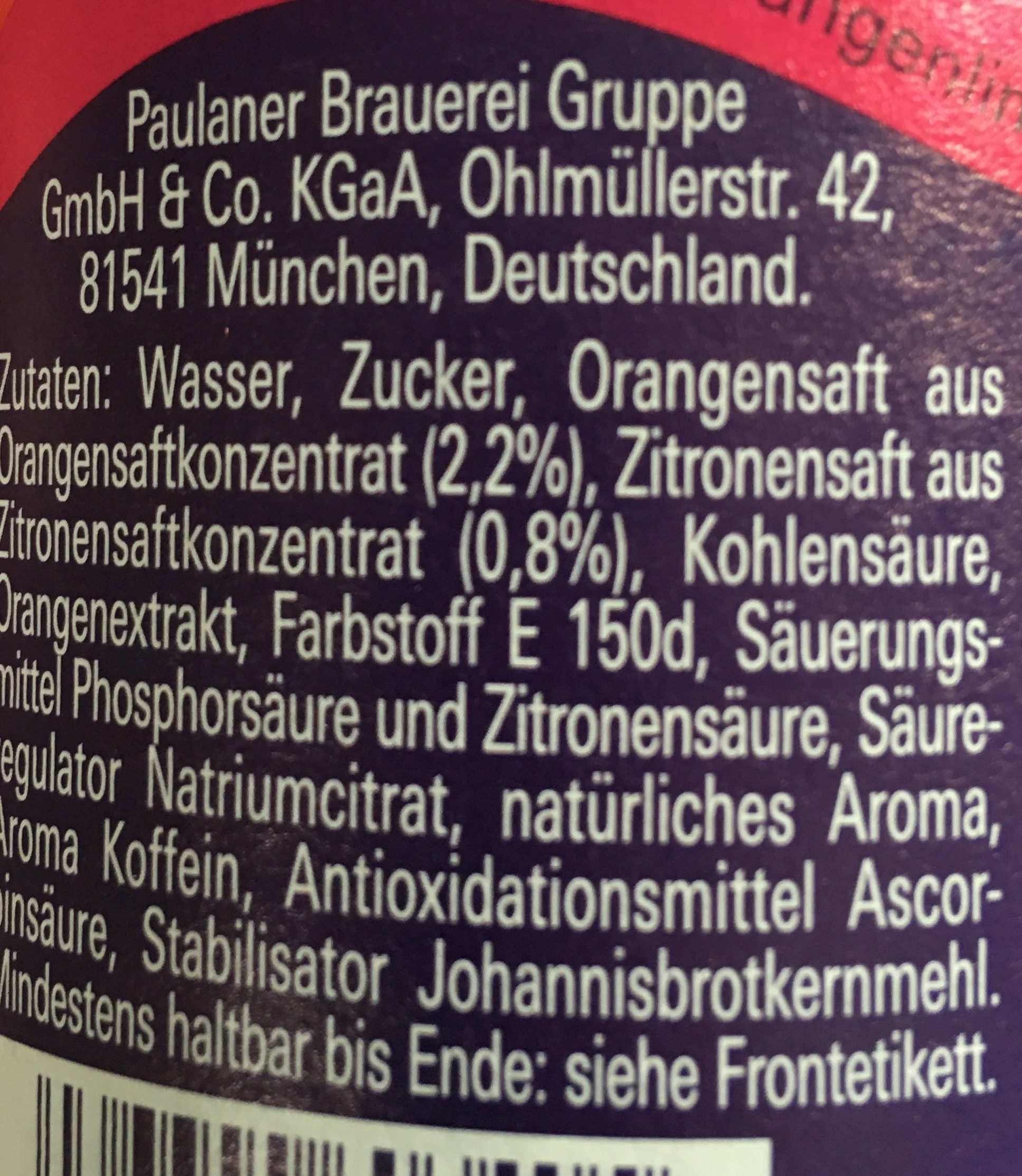 Paulaner Spezi - Ingredients