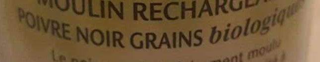 Moulin Poivre Noir en Grains Biologique - Ingredients - fr