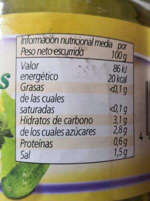 Pepinillos laminados - Informations nutritionnelles - es