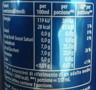 Pepsi - Nutrition facts - it