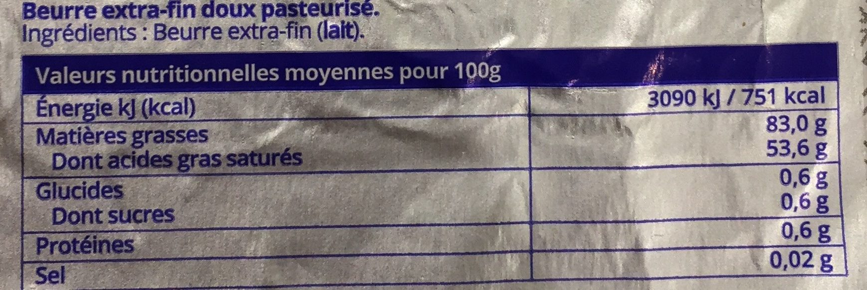 Beurre Extra-Fin - Información nutricional