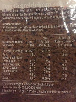 Roggenvollkornbrot mit Natursauerteig gebacken - Informations nutritionnelles - fr