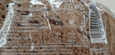 1688 Steinofenbrot Pain de Seigle Et Froment - Nutrition facts
