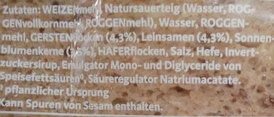 1688 Mehrkorn - Ingrediënten